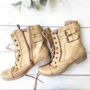 G by GUESS Tan Combat Military Boots